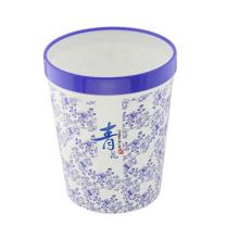 Boîte à ordures à déchets en plastique et en porcelaine bleue et blanche (FF-5211)