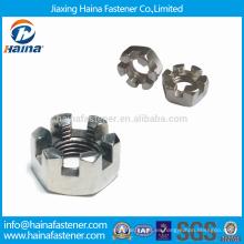 Stock Ampliamente utilizado DIN937 acero inoxidable Hexagon Thin castillo nueces