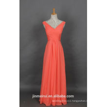 Chiffon Prom Dress Coral Straps V neck Floor Length Long Prom Gown