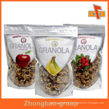 Customized clear silver plastic foil bag for dried food packaging with zip lock