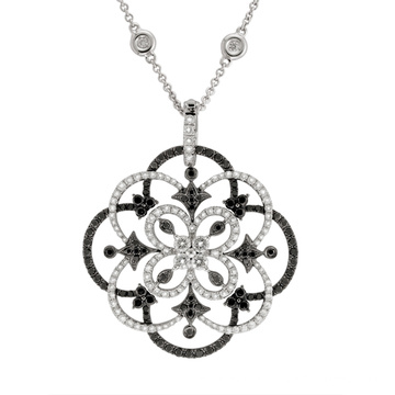 Black and White Diamond Flower Pendants 925 Sterling Silver Jewelry