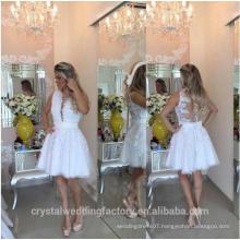 vestidos de fiesta 2017White Embroidery Short Cute Robe De Lace Cocktail Dresses MC2567
