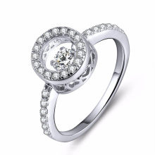 925 joyería de plata de los anillos con el diamante que baila CZ Micro que fija