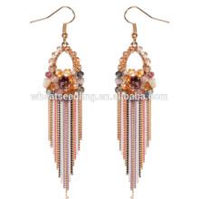 attractive teenage colorful crystal diamon j shaped beautiful for girls wedding earrings