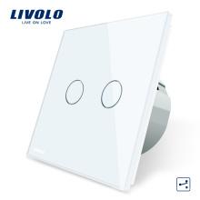 Livolo Electric Switch Standard de luxe gris, panneau en verre de cristal et 2 interrupteurs de lumière muraux à écran tactile 2 voies VL-C702S-15