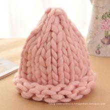 Корейский симпатичный повелительница рук связанный кабель шерсти Cap Hat Beanie