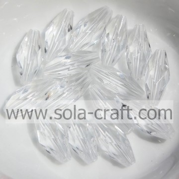 High Quality Faceted Diamond Ellipse Bicone Clear Acrylic Beads