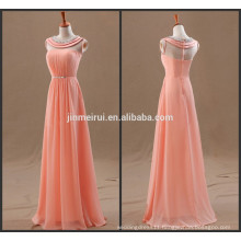 2014 Real Photo A-line Princess Sleeveless Scoop Beading Chiffon Floor-length Prom Dresses
