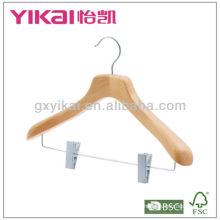 2013 новый стиль деревянная вешалка с металлическими клипсами