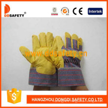Yellow PVC Gloves with Stripe Back Dgp101