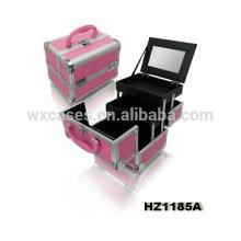 metal de caso cosmético profissional com 2 bandejas e espelho dentro fabricante