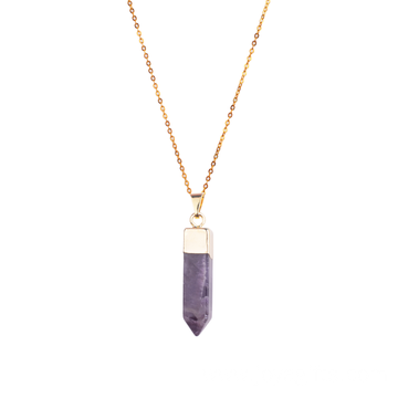 Charming Natural Amethyst Jewelerry Hexagonal Gold Chain Necklace Pendant