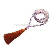 108 Hand geknotet Crystal Pearl Mala Gebetskette, Mala Perlen Gebet Quaste Halskette