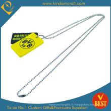 Étiquette de chien jaune anodisé par coutume en aluminium (LN-0157)