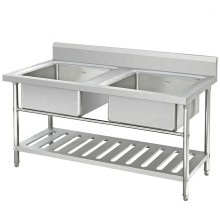 Stainless Steel Economical Single / Double Bowl Sink Bench / Work Table Kitchen Wash Sink with Under Shelf
