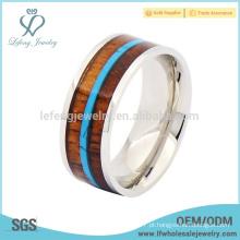 Moda titânio madeira e prata anel, anéis de titânio de madeira para os homens