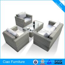 Patio rattan balcony sofa set with blue cushion