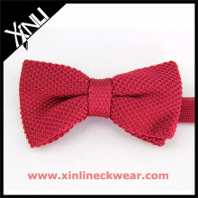 Bright Solid Red Silk Knitted Bow Tie Knit