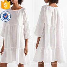 Объемные Многоярусные белье Белый три четверти длины рукавом мини летнее платье Производство Оптовая продажа женской одежды (TA0306D)