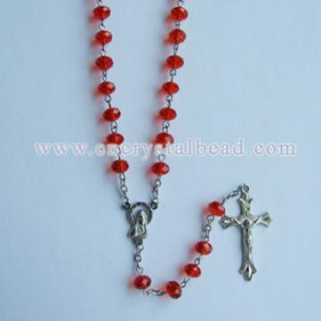 Rosaire de cristal de verre rouge