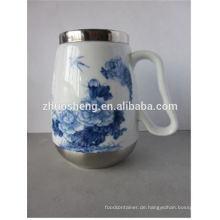 Großhandel kreative Top Qualität made in China Edelstahl Keramik Tiki Becher mit Henkel