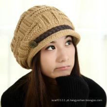 Senhora moda acrílico tricotado inverno quente vestido boné (yky3129)