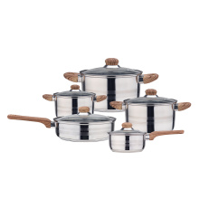 Induction cookware with wood-grain handle two satin lines