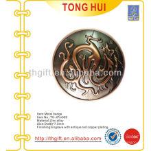 Цинковый сплав 3D круглый сувенирный лацкан / значок с античной медной обшивкой