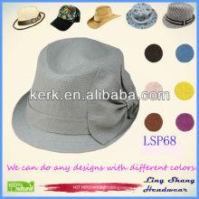 LSP68 ningbo lingshang 2014 Beautiful Rosette Bucket 100% Paper Straw Hat
