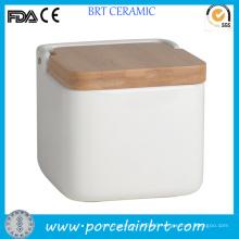 Square White Bamboo Lid Ceramic Food Storage Jar