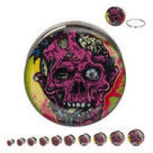 Decaying Zombie Design 316L Steel Screw Fit ear plugs piercing