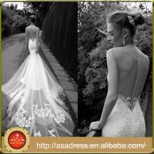AR01 Long Train Sexy See Through Mermaid Wedding Dress Custom Made