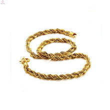 Colar da corrente da corda do ouro do chapeamento de cobre 18k, colares de bronze por atacado
