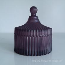 Pots de verre dépoli couleur striée