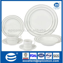 silver rim decoration custom-made stock household porcelain dinner set with good price