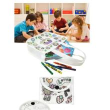 tote diy kids linda flor pintura no tejida con bolso de crayón