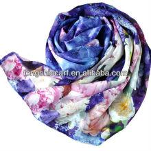 SD348-082 lenço de seda branco florido para pintura