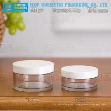 TJ-una serie de 50g y 100g engrosamiento pared simple rentable envases cosméticos clara plana redonda tarros pet