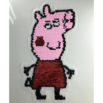Patchs Paillettes Cochon Peppa Pink Cartoon