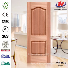 JHK-M01 Convex Texture Straight Line 16.8mm Depth Classic Africa Sapelli Natural Veneer Door Panel
