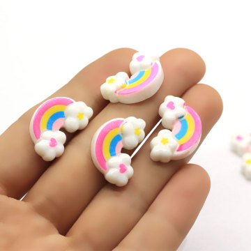 100Pcs/Lot 15*23MM Resin Miniature Rainbow Cloud Craft Flatback Dollhouse Rainbow Cloud Cabochons Slime Charms Supplier