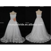 Una línea de manga de manga que rebordea Suzhou Perfect Cenicienta vestido de novia Made in China