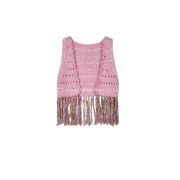 Colete feminino em malha de crochê com borlas em crochê