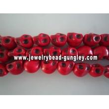 Howlite skull beads - dark red