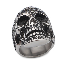 High Quality Custom Casted Stainless Steel Goth Punk Style Skull Cool Men Ring