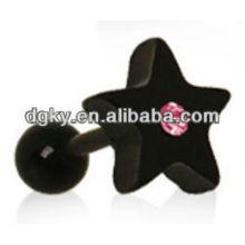 Estrella negra cristalina rosada del tragus del cartílago Earring Ear
