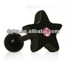 Pink Crystal Black Star Tragus Cartilage Earring Ear