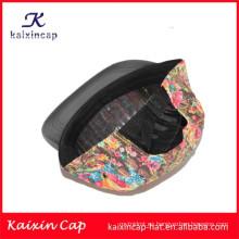 2015 flores coloridas de alta calidad de la impresión que imprimen la corona y el borde de cuero negro 5 casquillo del campista del panel