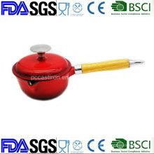 Dia 16cm Enamel Cast Iron Sauce Pot with Wooden Handle China Supplier