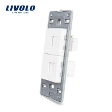 Prise américaine Livolo pour ordinateur et téléphone sans prise en cristal blanc avec verre cristal blanc et prise murale VL-C5-1TC-11